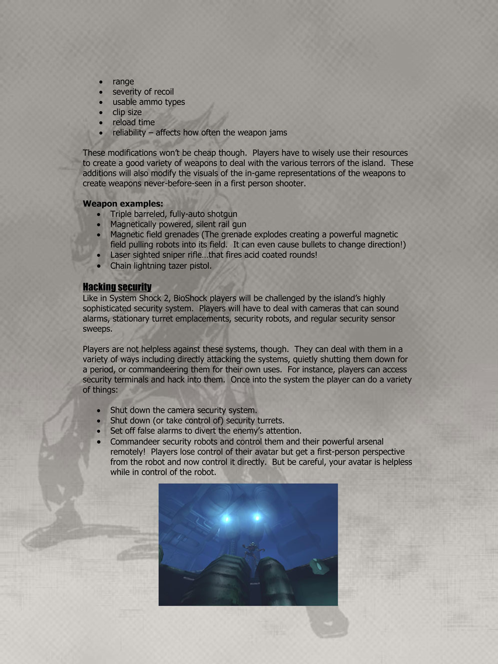 From The Vault The BioShock Pitch Irrational Games - Game pitch document template