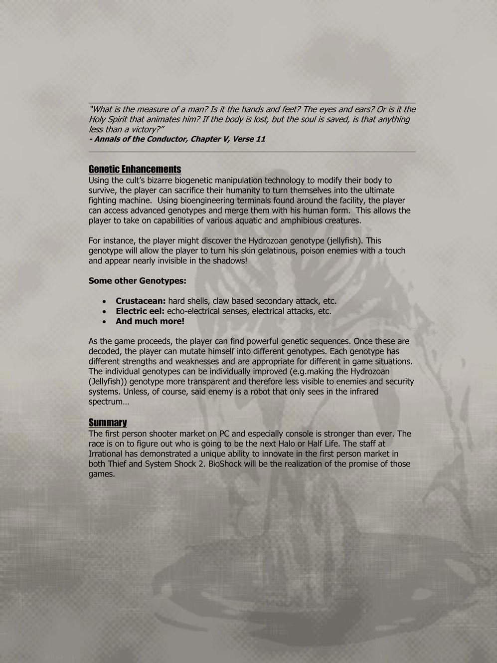 From The Vault The BioShock Pitch Irrational Games - Video game pitch document template